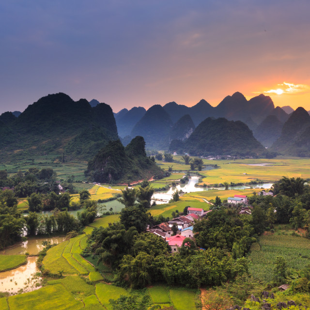 """Magical sunset on the area near mountain Phong Nam, Cao Bang province, Vietnam"" stock image"
