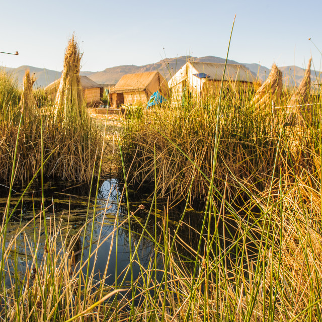 """Part of Uros, a group of 44 or so artificial islands made of floating reeds,..."" stock image"