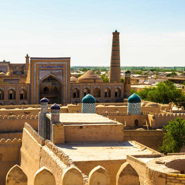 """Cityscape of the Itchan Kala, the walled inner town of the city of Khiva,..."" stock image"