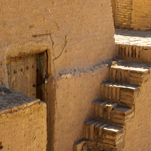 """Stairs on the Itchan Kala, the walled inner town of the city of Khiva,..."" stock image"