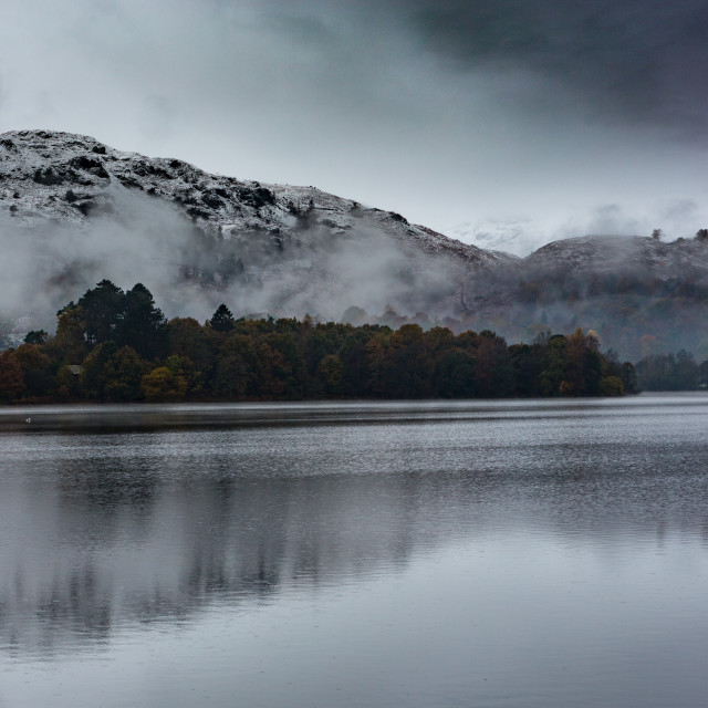 """""""Grasmere Water first snow"""" stock image"""
