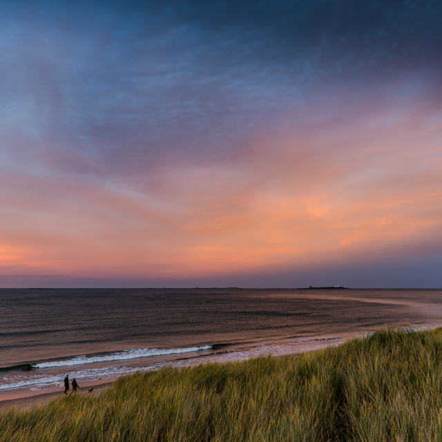 """Northumberland coast at Sunset"" stock image"