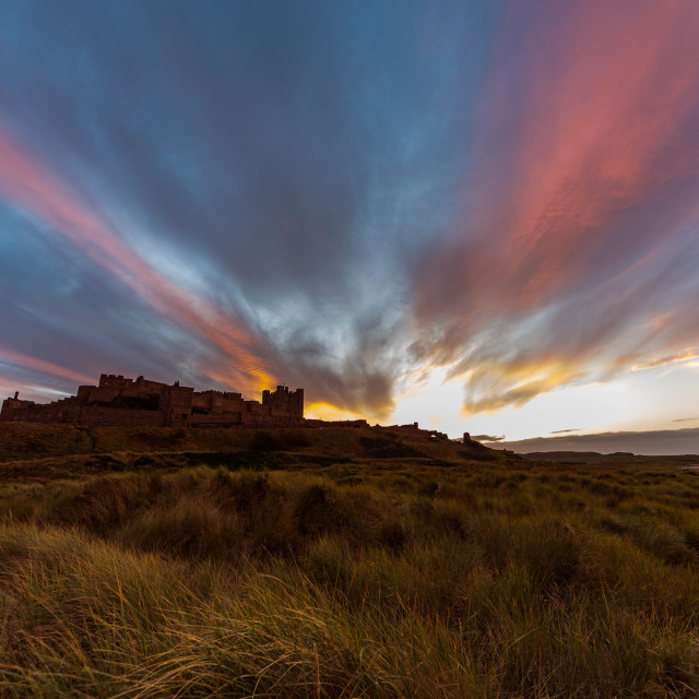 """Bamburgh Castle sunset"" stock image"