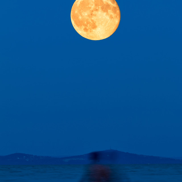 """Full moon over the lake on the beach"" stock image"