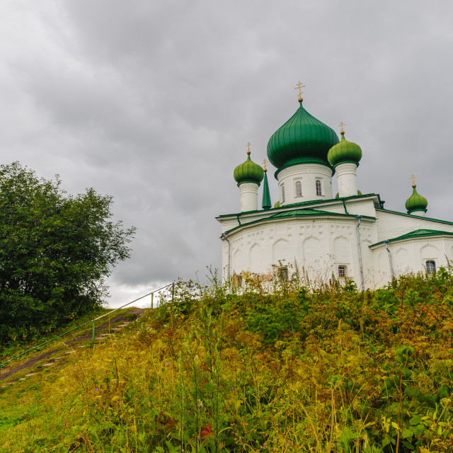 """Old Ladoga orthodox church in Russia"" stock image"