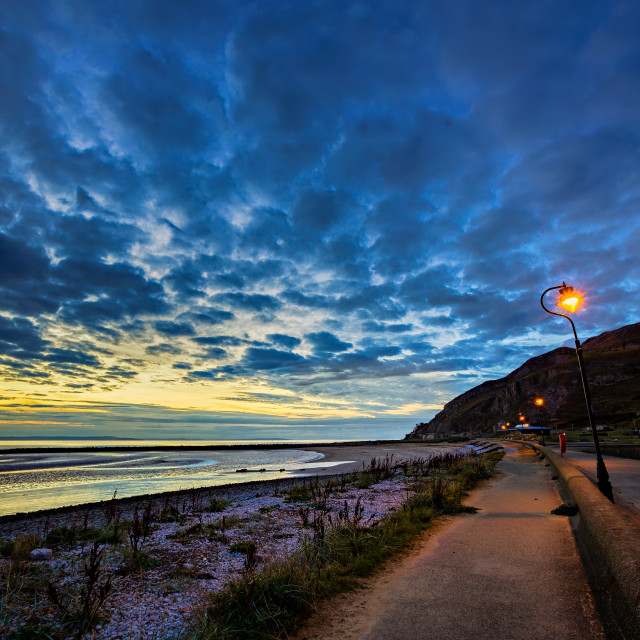 """Sunset at West Shore, Llandudno"" stock image"