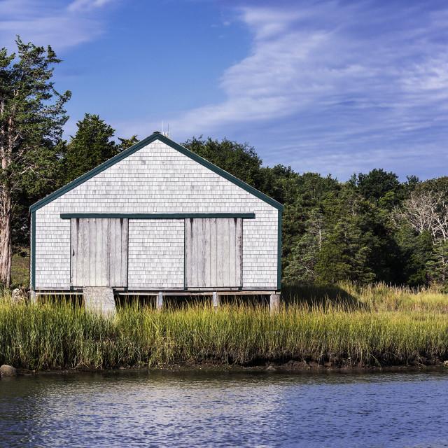 """Rustic boathouse Eastham Cape Cod"" stock image"