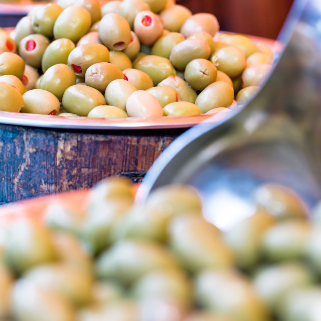 """Olives in bowls on food market"" stock image"