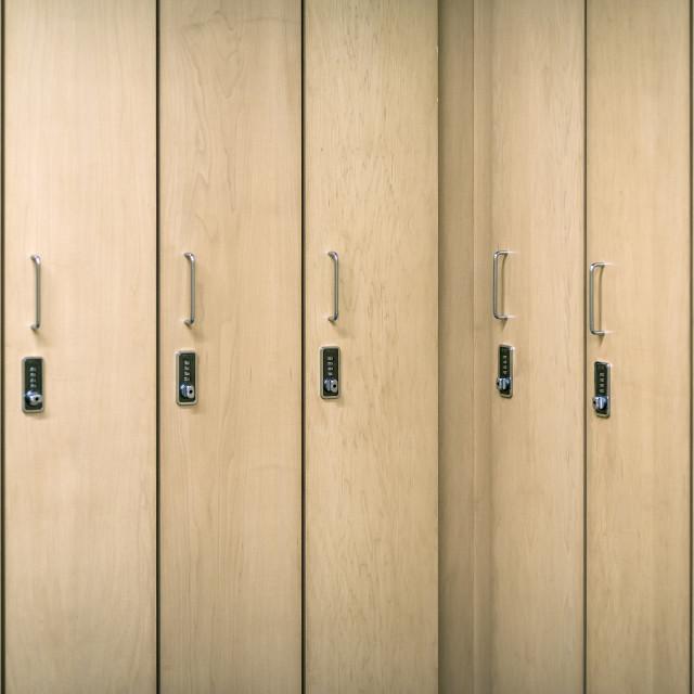 """Combination lockers in heath club locker room"" stock image"