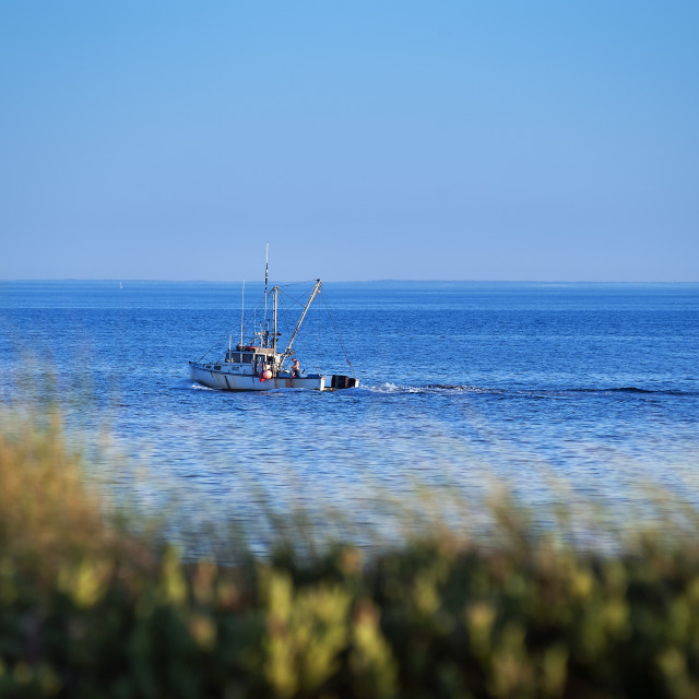 """Commercial fishing boat Provincetown Cape Cod"" stock image"