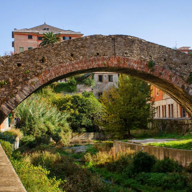"""Ponte Romano Ancient Arched Bridge In Nervi"" stock image"