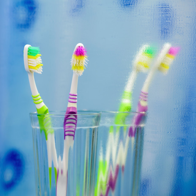"""""""Two Toothbrushes in the Bathroom"""" stock image"""
