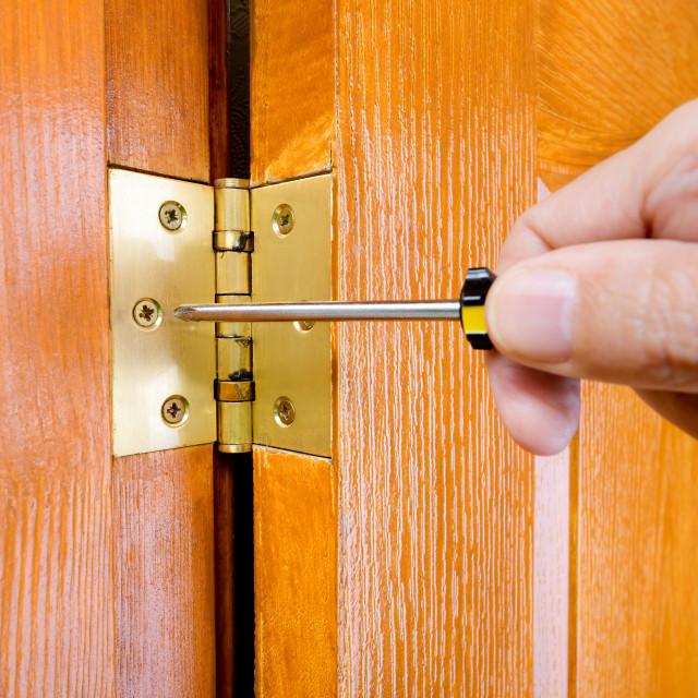 """""""Adjusting a Door Hinge"""" stock image"""