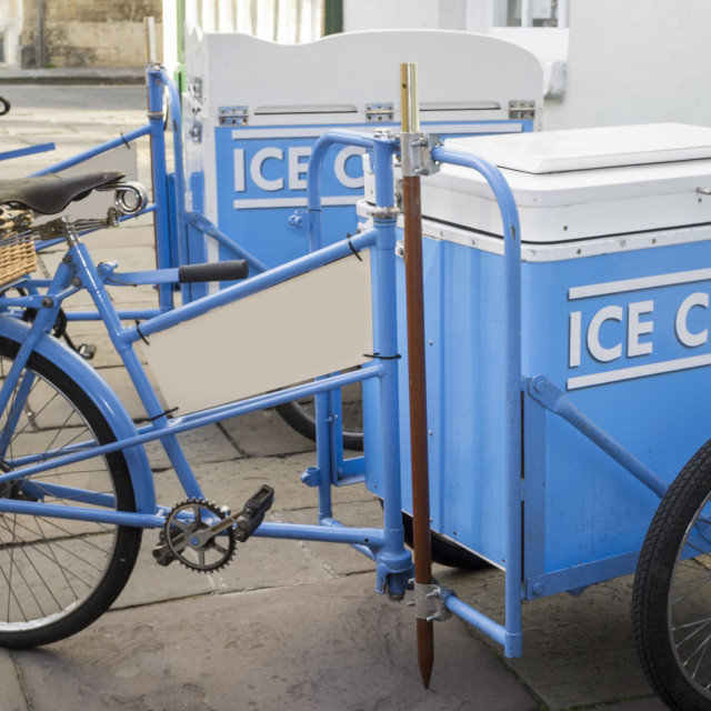 """Bicycles for transporting and selling Ice Cream"" stock image"