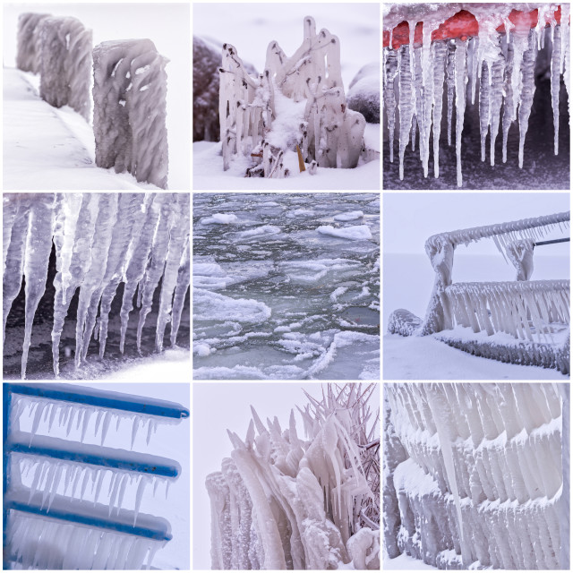 """""""Photo collage of cold winter days with many icicle"""" stock image"""