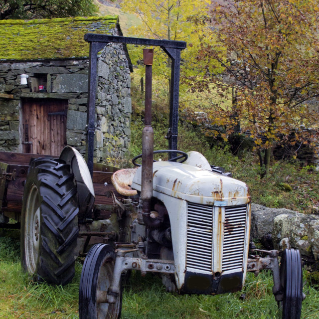 """Old Grey Ferguson Tractor"" stock image"