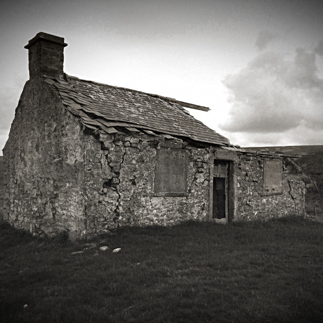 """A derelict cottage"" stock image"