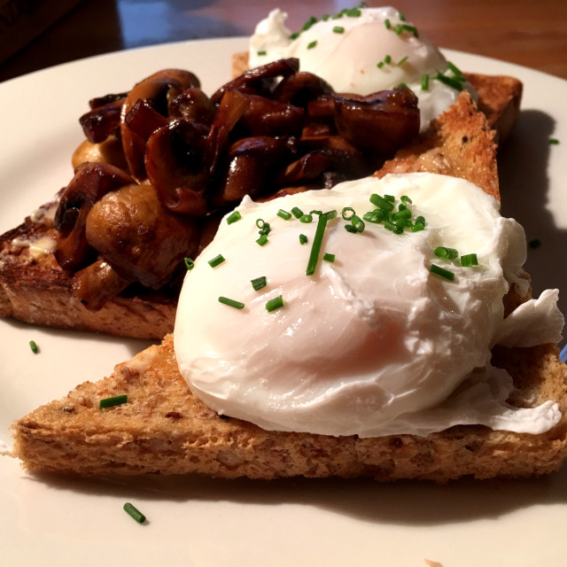 """poached egg and mushrooms on toast"" stock image"