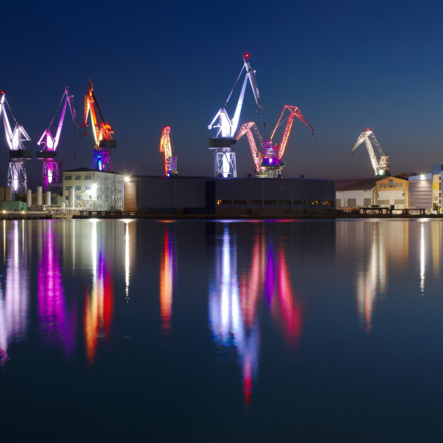"""""""Dock Cranes in Pula at Night"""" stock image"""
