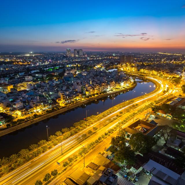 """""""East-West Highway (Vo Van Kiet street) in Ho Chi Minh City"""" stock image"""