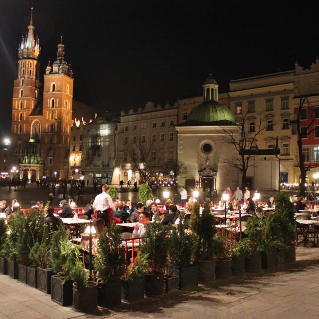 """Krakow Market Square dining"" stock image"