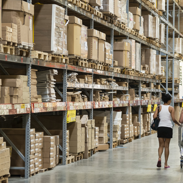 """Warehouse storage of retail merchandise."" stock image"