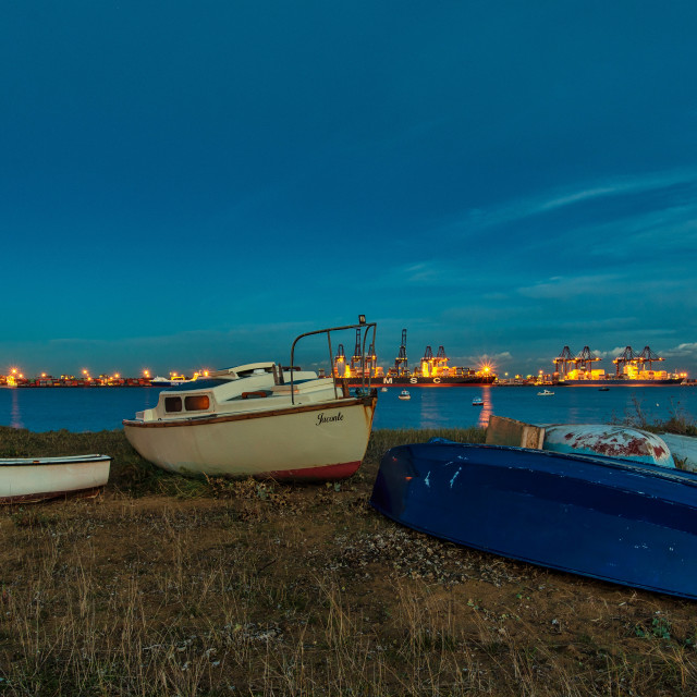 """""""Harwich Boats to Felixstowe Container Ships"""" stock image"""