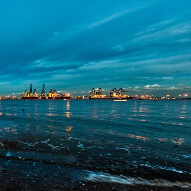 """""""Harwich to Felixstowe Twilight Panorama"""" stock image"""