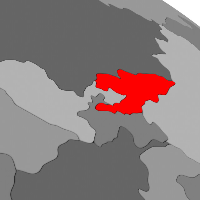 """""""Kyrgyzstan in red"""" stock image"""