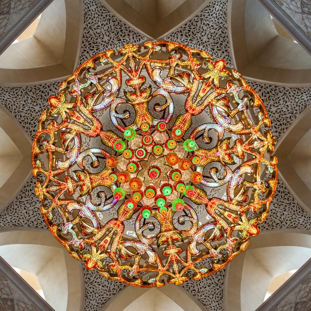 """Grand Mosque Chandelier"" stock image"