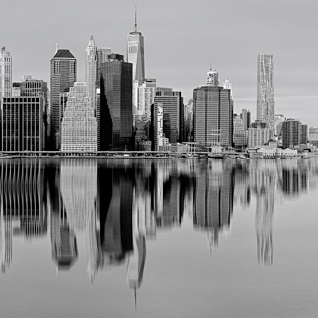 """""""New York in black and white with reflections on the river"""" stock image"""