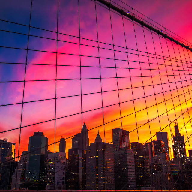 """New York City view from Brooklyn bridge at sunset"" stock image"