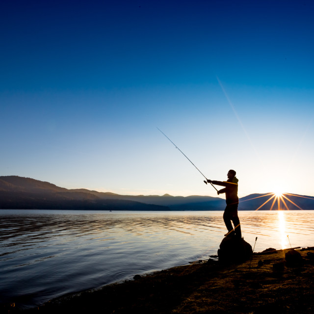 """""""Fishing in the calmness of the morning. Self portrait."""" stock image"""