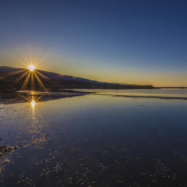 """""""Sunset on the Orbetello Lagoon"""" stock image"""