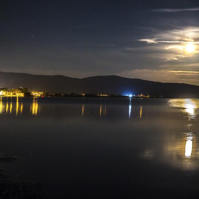 """The Super Moon over Orbetello Lagoon"" stock image"