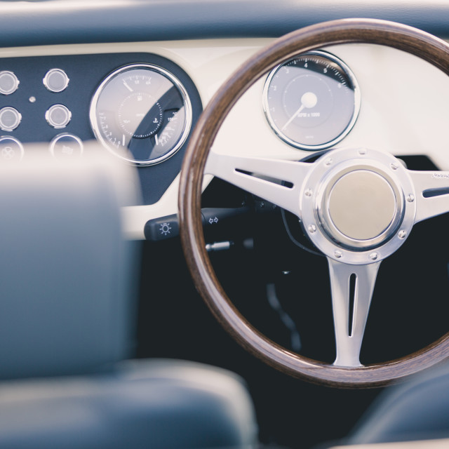 """Classic car steering wheel"" stock image"