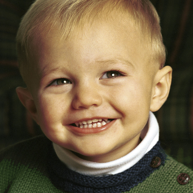 """""""Portrait of a smiling boy. Two years old, happy, cute, toddler, child."""" stock image"""