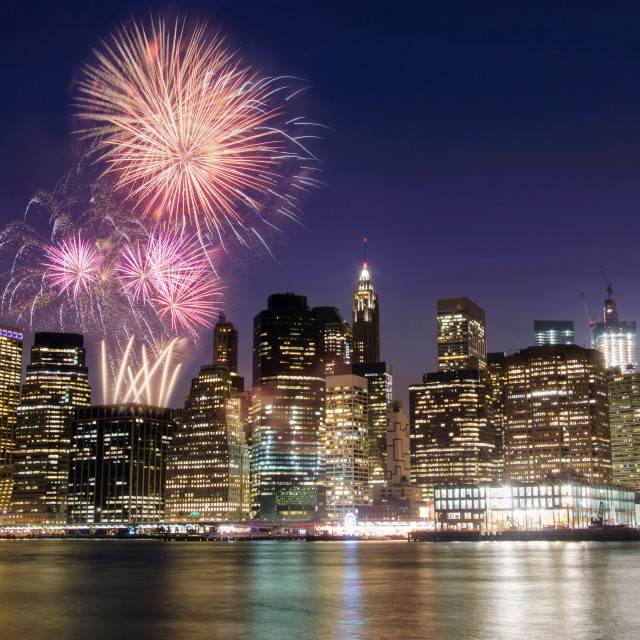 """Firework over Manhattan island, New York"" stock image"