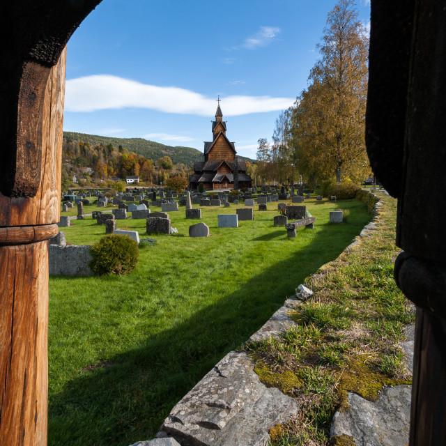 """""""Heddal stave church"""" stock image"""