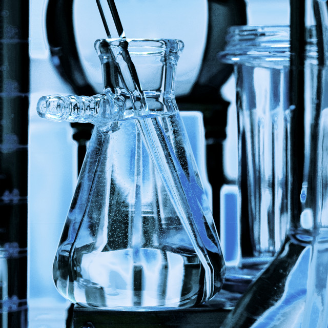 """Glass vials and beakers used in medical scientific research. lab, laboratory."" stock image"