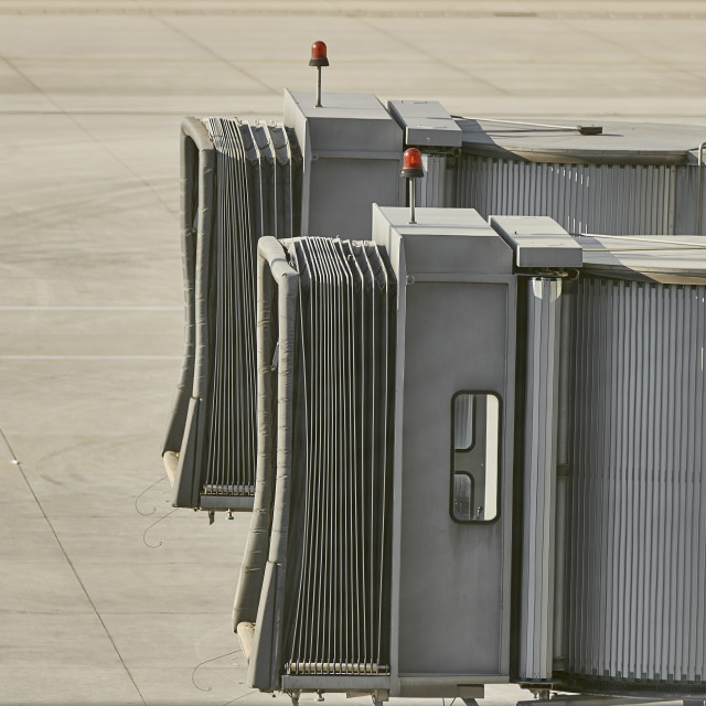 """Empty jetways at airport"" stock image"