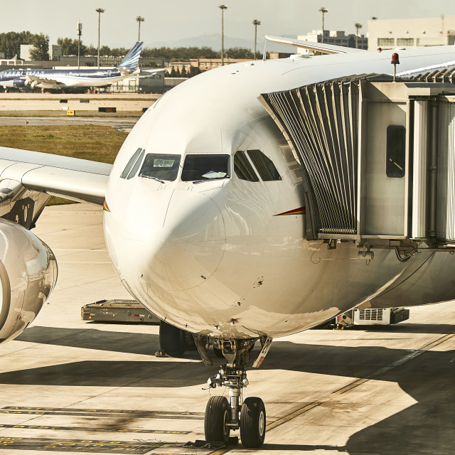 """""""Commercial Airbus aircraft at gate"""" stock image"""