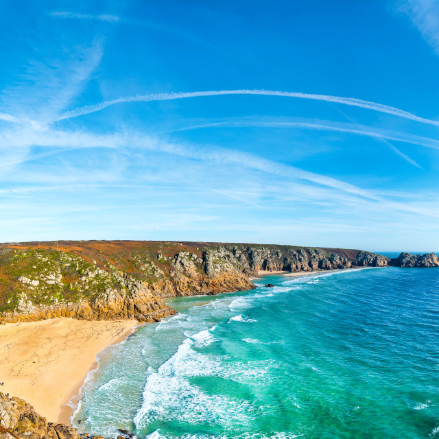 """Porthcurno to Pedn Vounder and the Logan Rock."" stock image"