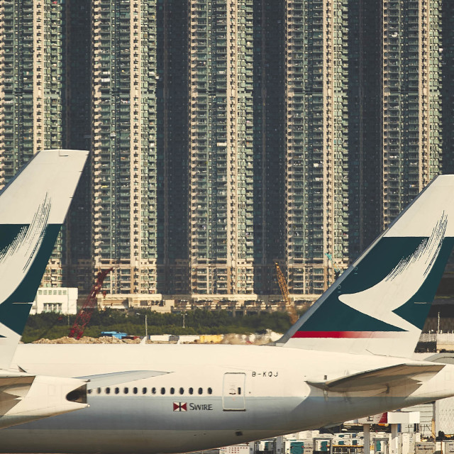 """Passenger jets parked in Hong Kong"" stock image"
