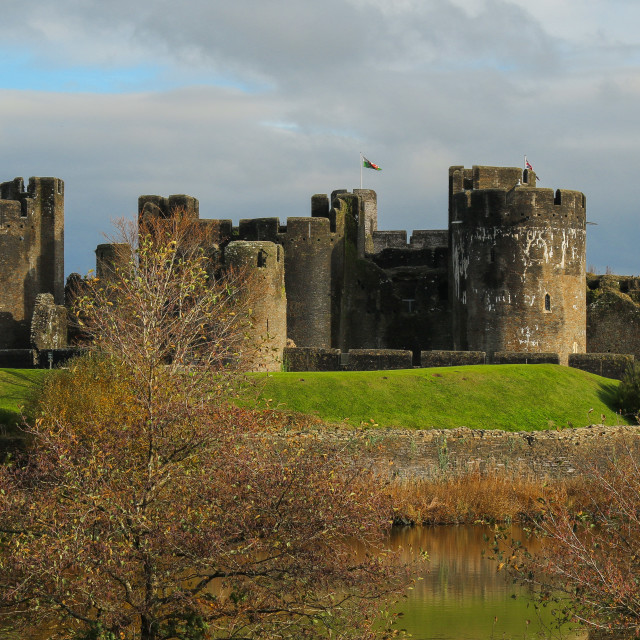 """Autumn at Caerphilly Castle"" stock image"