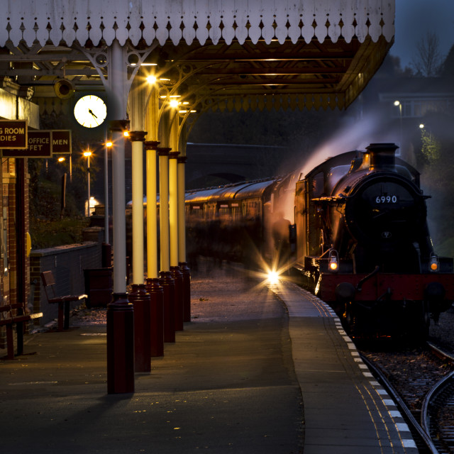 """Evening steam at the station"" stock image"