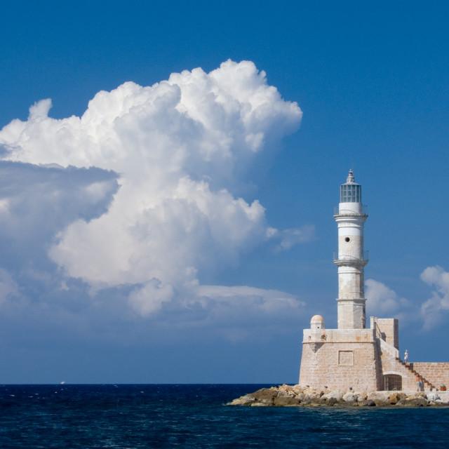 """Chania lighthouse"" stock image"