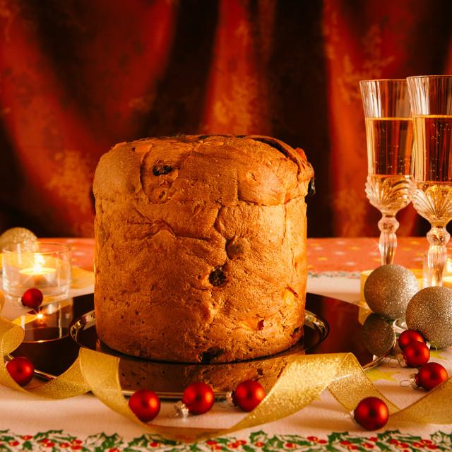 """Christmas cake and sparkling wine"" stock image"