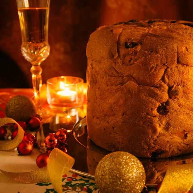 """Italian panettone and sparkling wine"" stock image"