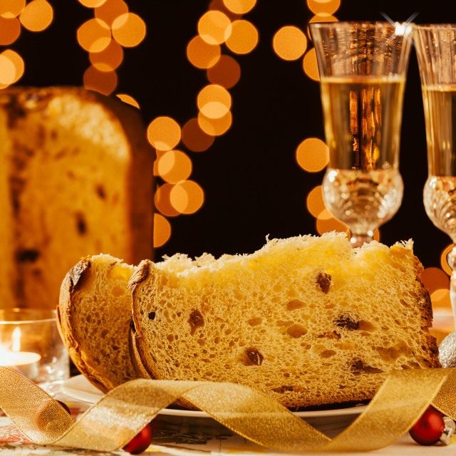 """""""Sliced italian panettone and sparkling wine"""" stock image"""